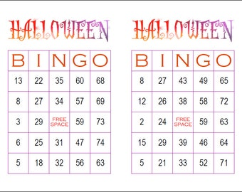 It is a picture of Vibrant 25 Printable Halloween Bingo Cards
