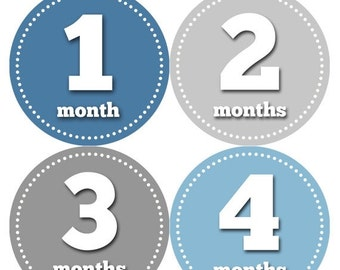 Monthly Baby Milestone Stickers Baby Boy Baby Shower Gift One-Piece Baby Stickers Monthly Baby Stickers Baby Month Sticker 052