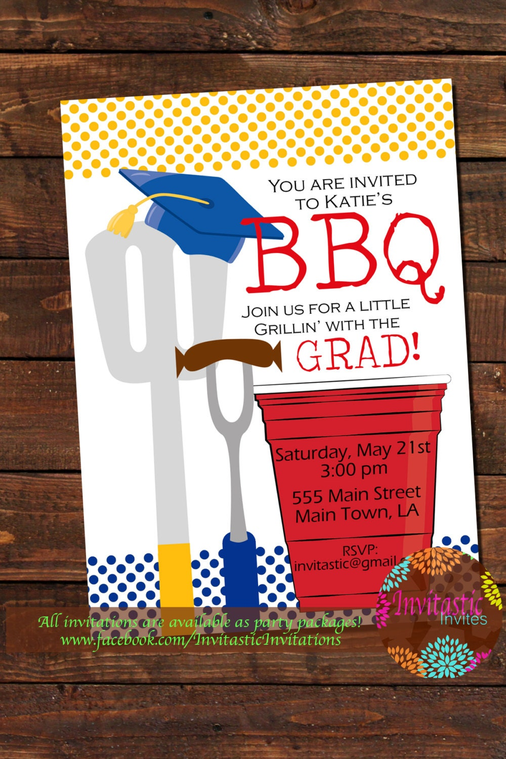 barbeque graduation party invitation end of the school year