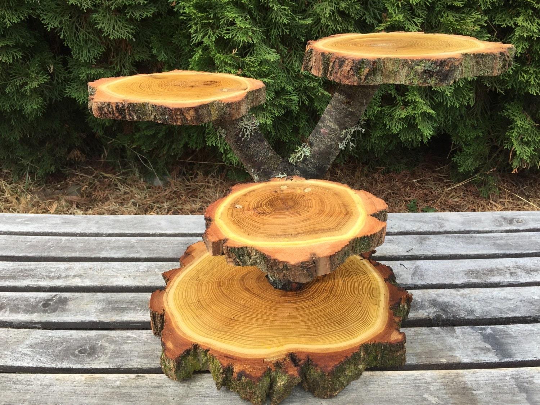 Large Log Black Locust Wood Rustic Cake 25 Cupcake Stand