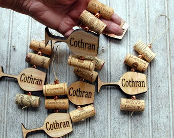 Wine Cork Ornament, Personalized Wine Glass and Recycled Wood Handmade Ornament