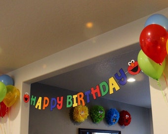 Elmo Happy Birthday Banner