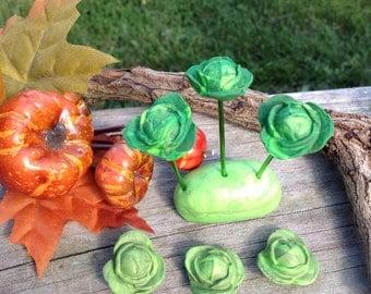 Set of 3 Miniature Cabbage, Miniature Garden Vegetables, Fairy Garden Vegetables, Faux Mini Cabbage Plants