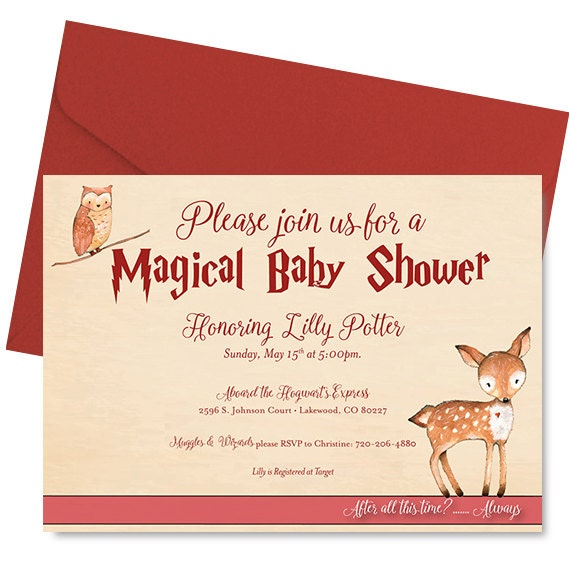 harry potter baby shower invitation harry potter shower invitation
