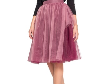 2 Tone Soft Tulle Skirt midi - Layered