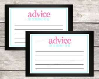 advice for mommy cards, mom to be, baby shower game, chalkboard, instant download, printable files