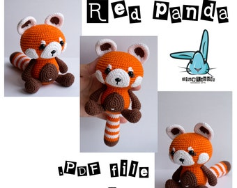 Red panda - amigurumi crochet pattern. PDF file. DIY. Language - English, French