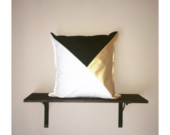 Metallic Color Block Pillow Cover
