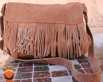 Mexican Leather Handmade Purse With Fringes-Grey