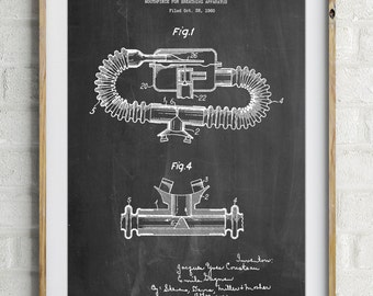 Diving Mouthpiece Patent Poster, Underwater Art, Deep Sea Diving, Nautical Wall Decor, PP0896