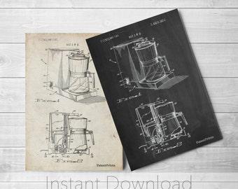 Coffee Maker Printables, Vintage Coffee, Diner Decor, Kitchen Wall Art, Coffee Print, PP0208