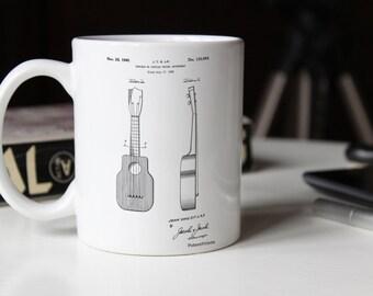 Ukulele Patent Mug, Music Lover Gift, Ukulele Mug, Guitar Mug, Music Room Decor, Guitarist, PP1117
