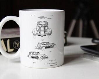 1934 Automobile Patent Mug, Car Enthusiast, Classic Car Decor, Antique Car, PP0471