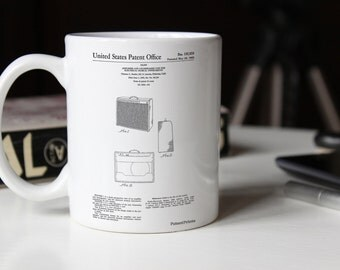 Fender 1962 Pro Amp Patent Mug, Guitar Amplifier, Guitar Mug, Teen Room Mug, Unique Gift for Dad, Basement Decor, PP0405