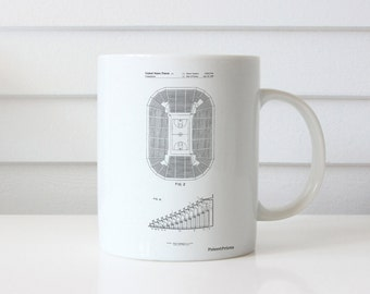Retractable Arena Seating Patent Mug, Basketball Gifts, Basketball Court, School Office Decor, PP0453