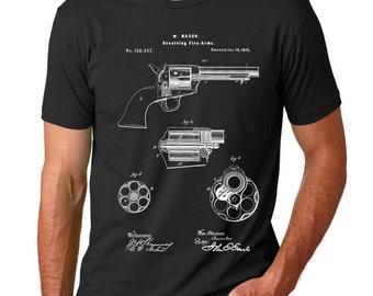 US Firearms Single Action Revolver Patent T Shirt, Handgun, Gun Lover Gift, Gun T-shirt, PP1119
