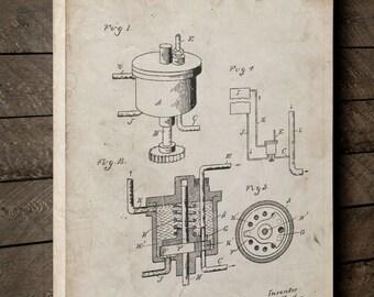 Carburetor 1898 Canvas Art, Canvas Wall Decor, Car Canvas, Car Part Art, Mechanic Gift,  PP0273
