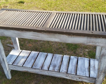 Reclaimed Shutter Table--Sofa Table--Mudroom Organizer Table