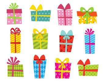 Presents Clip Art, Bright Gift Boxes Clip Art, Giftbox Clip Art, Birthday Present Boxes Digital Clip Art - Instant Download - YDC102