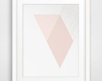 Pink Modern Art, Minimalist Decor, Pink Geometric, Modern Decor, Minimalist Prints, Pink Wall Art, Modern Wall Prints, Minimalist Art