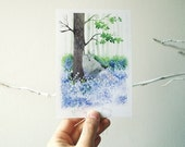Post card Wolf relaxing in the wild flowers Greeting card Nature Note card Wolf post card Cute stationary Animal post card Watercolor wolf