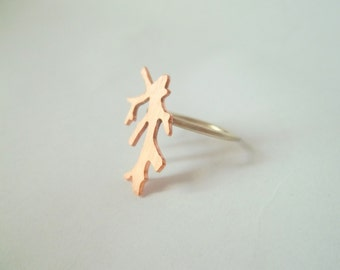 Handmade copper coral ring.
