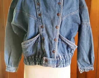 Vintage eighties/nineties double breasted denim jacket size medium