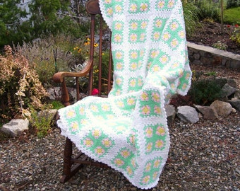 Baby Granny Square Afghan Hand Crochet Blanket Crib Size 42 x 57 Inches