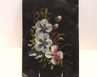 Antique Primitive Folk Art Painting on Tin Hand Painted Flowers