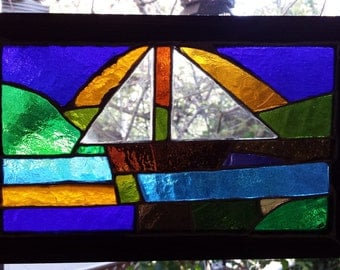Boat 2 Lead Free Stained Glass Window Panel