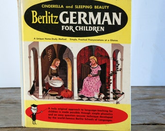 Vintage Book Berlitz German for Children Featuring Cinderella and Sleeping Beauty