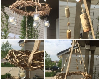 Hanging Wisteria Vine Wreath Candle Chandelier