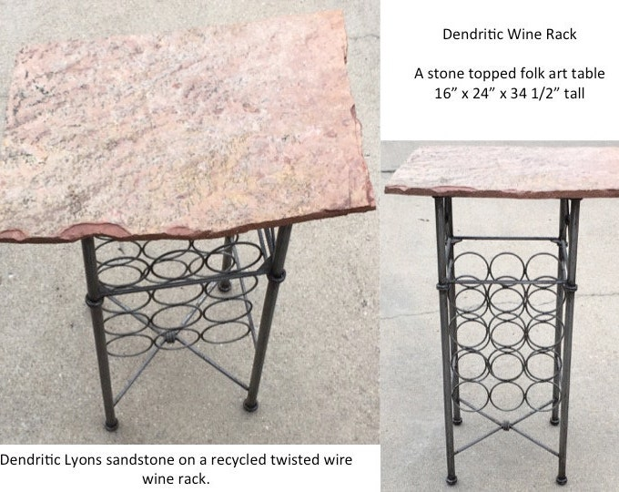 "Dendritic Wine Rack, a 34 1/2"" tall 16 x 24"" folk art accent table"