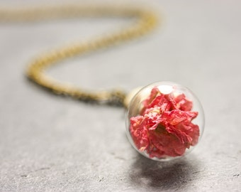 Flower ball chain - real flowers pink - Larkspur