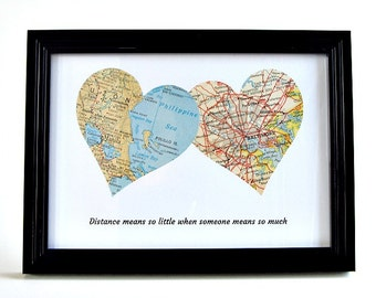 Personalized Long Distance Map Hearts, Distance Couple Gift, Christmas Gifts for Long Distance Boyfriend, LDR Gift for Her, LDR Christmas