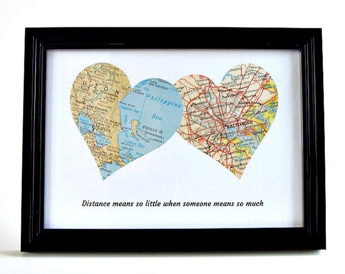Featured listing image: Christmas Gift for Long Distance Dad, Personalized Distance Map, Father Daughter Long Distancr, Grandpa Long Distance, Gift for Inlaws