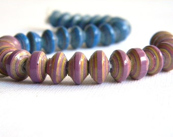 Paper Bead Jewelry Supplies - Paper Beads - Hand painted - Lot of 32 - #B419