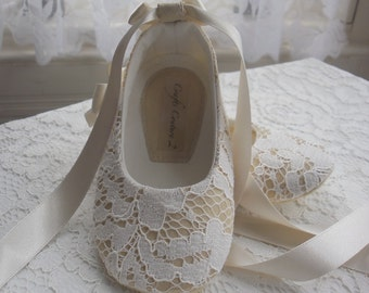 Ivory Lace Christening, Wedding, Flower Girl or Special Occasion Baby Girl Shoes.