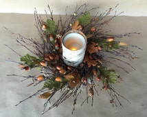 """Fall Candle Ring or Small Wreath - 18"""" - Birch Twig, Acorn and Burlap Leaves"""