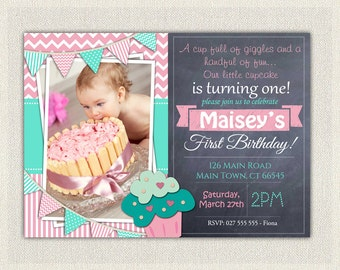 First Birthday Invitation Cupcake / Girls 1st Birthday Invitation / Printable Download /  Pink Aqua Cupcake Invite / Digital Chevron (40)