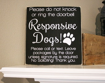 "12x12"" No Soliciting Responsive Dogs Wood Sign - Do Not Disturb - Do Not Knock - Do Not Ring The Doorbell - Leave Packages - Go Away - Dog"