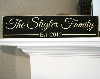 "24x6"" Family Established Date Wood Sign - Great For Wedding & Housewarming Presents! - Love - Family - Marriage - Last Name - Wedding Gift"
