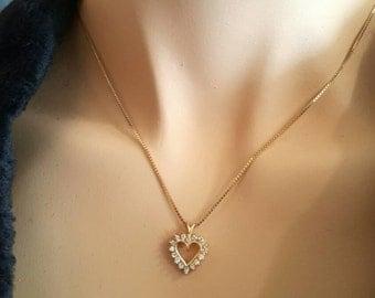 14K Yellow Gold Heart Shaped Diamond Pendant