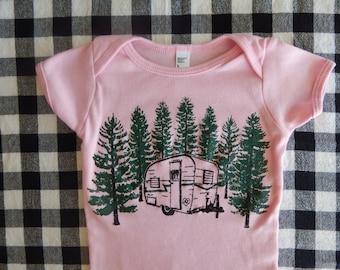 VINTAGE CAMPER print, American Apparel BABY Lap T-shirt or Onesie, 3-24 mos