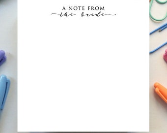 The Quote Pad – Thick Luxurious Notepad - 'A Note From the Bride'