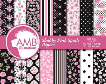 Floral papers, Roses Digital Papers, Shabby Chic papers, Pink and Black, scrapbook papers, digital paper, commercial use, AMB-1421