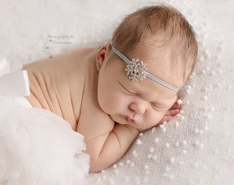 Mini snowflake headband-rhinestone silver sparkle headband-winter christmas headband