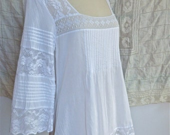 White Lace Paneled Blouse