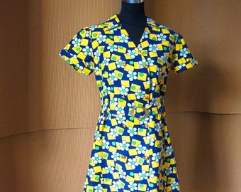 1960s Summer Mini Dress. Cotton/Brass Buckle/Size S/M