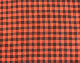 Red & black gingham plaid check unused cotton fabric coupon - French 80s vintage